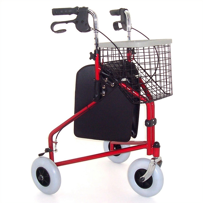 Z-Tec Folding Steel Tri-Wheel Walker - Red