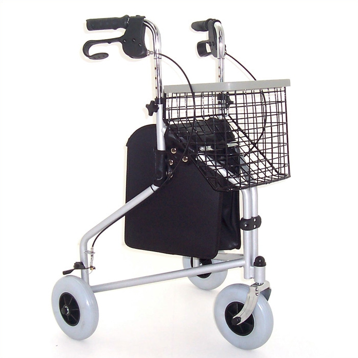 Z-Tec Folding Steel Tri-Wheel Walker - Silver
