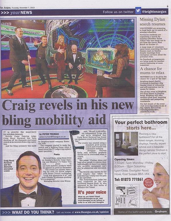 Craig Revel Horwood essentialaids.com crutches Evening Argos