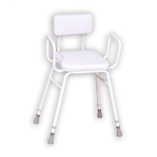 Malvern Vinyl Seat Perching Stool - Adjustable Height with Armrests and Padded Backrest