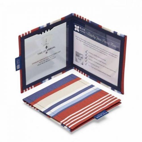 Permit Cover Steller Strip Blue/Red Cotton