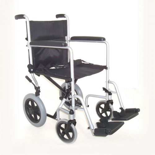 Z-Tec Folding Steel Transit Wheelchair in Silver