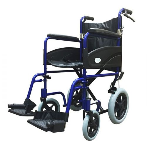 Z-Tec Folding Aluminium Transit Wheelchair With Hand Brake in Blue