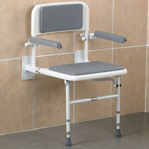 Wall Mounted Shower Seat With Back And Arms