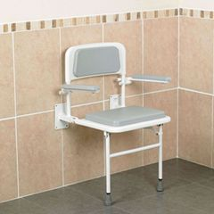 Padded Wall-Mounted Shower Seat with Back and Arms