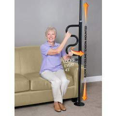 Security Pole and Curve Grab Bar in Black