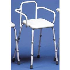 Adjustable Height Stool With Back & Arms