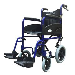 Z-Tec Folding Aluminium Transit Wheelchair With Hand Brake in Blue