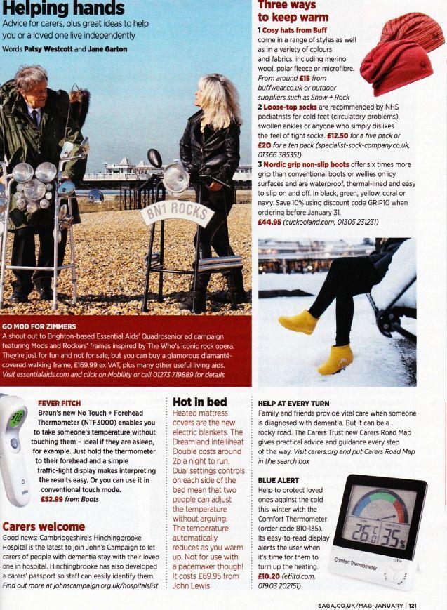 Saga magazine covers Quadrosenior by Essential Aids